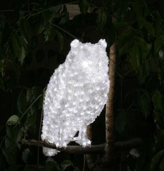 Новогодняя светодиодная декорация Scorpio Сова 50 см Белая (560330) (4820005603305)
