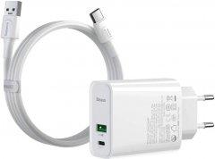 Зарядное устройство Baseus Speed PPS QC C+A 30W VOOC Edition White+Flash Cable White (TZCCFS-H02)
