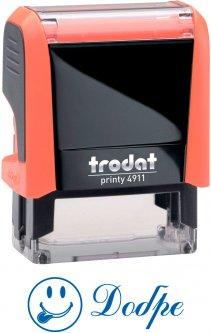 "Штамп стандартный Trodat Printy 4911 ""Добре + смайл"" синий оттиск 38х14 мм Оранжевый корпус (9720000055145)"