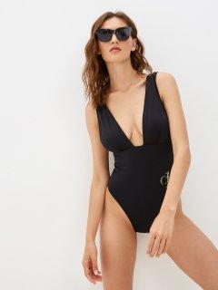 Купальник слитный женский Calvin Klein Underwear Plunge One Piece-Rp KW0KW01529-BEH S Черный (8719854054306)