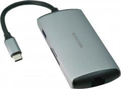 Универсальный USB-хаб Mission Aluminum Gigabit LAN port + Type-C + USB-A3.0 + HDMI + SD + micro SD Space Gray (MSH-Hub6с)