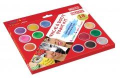 Набор красок для лица и тела MAXI 18 цветов с 2 кисточками и спонжем (MX60177)