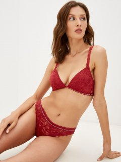 Бюстгальтер Calvin Klein Underwear Lightly Lined Triangle QF6199E-XJM M Пыльно-красный (8719853944745)