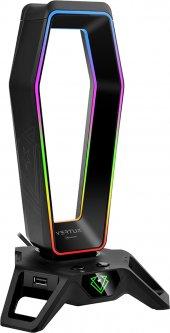 Подставка для наушников Vertux и USB хаб 3xUSB 3.0/2xAUX 3.5 мм Black (hexarack.black)
