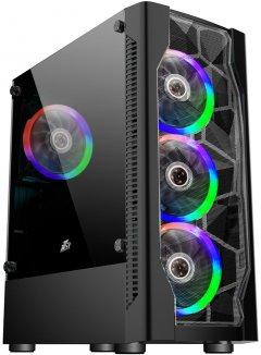 Корпус 1stPlayer D4-4R1-BK Color LED Black