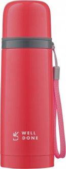 Термос вакуумный Well Done малиновый 0.35 литра (WD-7153R)