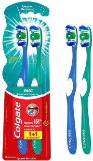 Зубная щетка Colgate 360° Clean антибактериальная средней жесткости 1+1 шт (4606144007347/8714789213033)