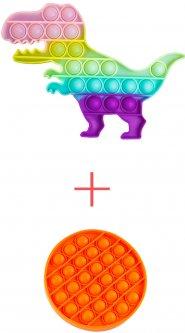 Набор Sibelly Игрушка антистресс Sibelly Pop It Динозавр Glow in Dark + Круг Mono Orange (SB-PPIT-DN-GD-CRCL-OR) (9869205469156)