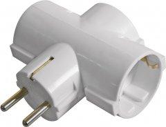 Сетевой адаптер Emos P00242 тройной круглый с заземлением White