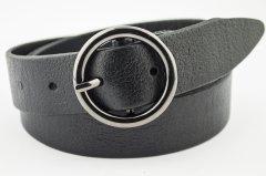 Женский кожаный ремень J.K. 3 см для джинсов черный 100-130 см (JK1358)