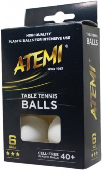 Мячи для настольного тенниса Atemi 3* 6 шт 40+ Белые (NTTB3*6 40+)
