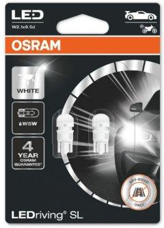 Автолампы OSRAM 12V W5W LED 1W 6000K W2 1X9 5D LEDriving SL (2825 DWP-02B)