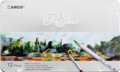 Карандаши цветные Marco Raffine акварельные с кисточкой 12 цветов в металлическом пенале (7120-12TN)