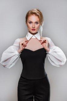 Блуза NataKli L Черно-Белая органза