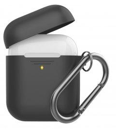 Силиконовый чехол с карабином Promate GripCase для Apple AirPods Black (gripcase.black)