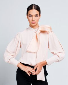 Блуза Loreine шелковая с бантом из органзы 38 бежевая (L19343_38BBG)