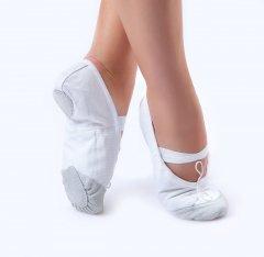 Балетки танцевальные Dance&Sport 011 с нашитой кожей на носке и кожаной подошвой 31 Белые
