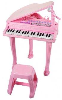 Детское пианино-синтезатор Baoli Маленький музыкант с микрофоном и стульчиком 37 клавиш Розовое (BAO-1403-P) (2722155542560)