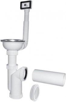 Сифон для кухонной мойки PLAST BRNO колбовый 40/50 мм со стальной пробкой-решеткой c переливом (EA01450)