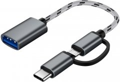 Адаптер OTG XoKo AC-150 2 в 1 USB 3.0 - MicroUSB & USB Type-C с кабелем Space Grey (AC-150-SPGR)