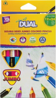 Карандаши цветные Cool For School Dual Jumbo Extra Soft двухсторонние 12 шт 24 цвета (CF15166) (4044572151667)