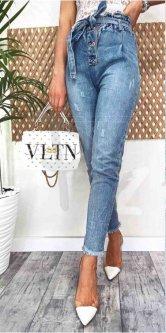 Джинси жіночі jeans мом з царапками весняний коттоновый DM-3679 Блакитний 29