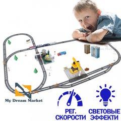 Дитяча залізниця іграшкова - Ігровий набір залізниця 670 см - станція завантаження палива і кран для розвантаження і вантаження лісу зі світловими ефектами, на батарейках для дітей від 3 років