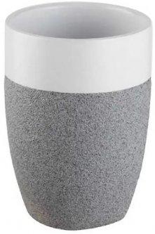 Стакан для зубных щеток BISK Stone 06311 серо-белый