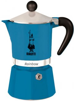 Гейзерная кофеварка Bialetti Rainbow 270 мл Голубая (0005243)