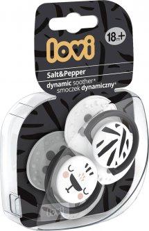 Пустышка Lovi Salt & Pepper силиконовая динамическая 18+ месяцев Белая с серым 2 шт (22/880)
