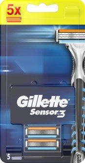 Сменные картриджи для бритья (лезвия) мужские Gillette Sensor 3 5 шт (7702018500017)