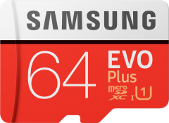 Samsung EVO Plus microSDXC 64GB UHS-I Class 10 + SD адаптер (MB-MC64HA/RU)