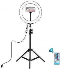 "Кольцевая USB RGBW LED лампа Puluz PKT3043 10"" + штатив 1.1 м"