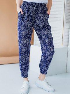 Укороченные летние штаны на резинке Синий S Vikamoda 3013
