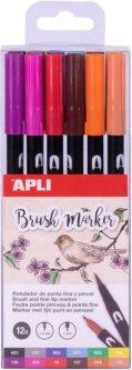 Набор маркеров Apli Kids чернильных с кисточками 12 цветов (18063) (8410782180630)