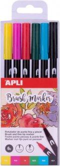Набор маркеров Apli Kids чернильных маркеров с кисточками 6 цветов (18062) (8410782180623)