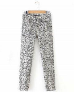 Джинси жіночі skinny з анімалістичним візерунком Python Berni Fashion (L) Чорний (55820)