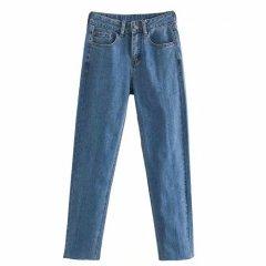 Джинси жіночі mom jeans з необробленим краєм Blue Berni Fashion (L) Синій (55814)