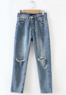 Джинси жіночі boyfriend jeans з прорізами і потертостями Freedom Berni Fashion (S) Синій (55813)