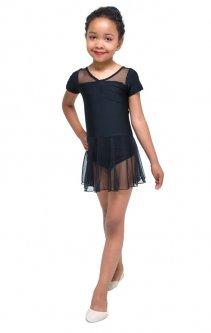 Купальник для гімнастики і танців Little Dancer DR-2087-BK чорний розмір 34 (зріст 134-140 см)