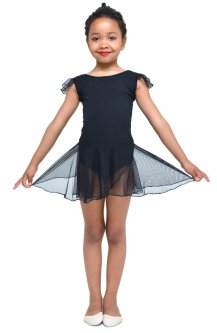 Купальник для гімнастики і танців Little Dancer DR-2092-BK чорний розмір 30 ( ріст 110-116 см)
