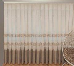 Тюль Декор-Ин Барселона Бежево-кремовый с вышивкой на льне 280х300 (Vi 100008) (ROZ6400050203)