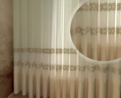 Тюль Декор-Ин Барселона Светло-бежевый с льняной полоской вышивка на льне 275х600 (Vi 100157) (ROZ6400050352)