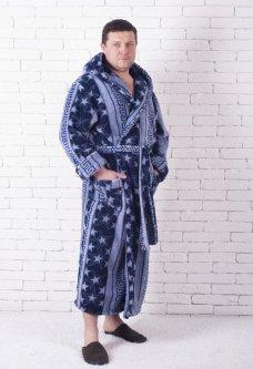 Мужской халат X-sport Звезды С капюшоном 4XL Синий 53