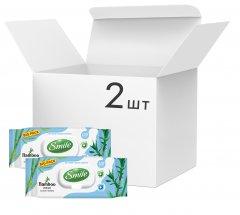 Упаковкавлажных салфеток Smile с экстрактомбамбука с клапаном 2 пачки по 120 шт (42224373_4823071642650)