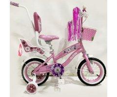 Детский велосипед Rueda Flower, 12 дюймов 12-03B, с корзинкой для кукол, с родительской ручкой, Розовый