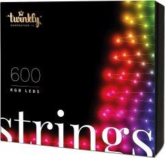 Светодиодная Smart LED гирлянда Twinkly Strings RGB 600, BT+WiFi, Gen II, IP44 кабель черный (TWS600STP-BEU)