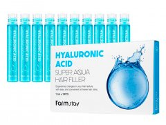 Увлажняющий филлер с гиалуроновой кислотой FarmStay Hyaluronic Acid Super Aqua Hair Filler, 10шт по 13мл (8809615881439)