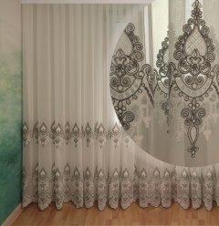 Тюль с купоном Декор-Ин Индиана Бело-серая с вышивкой на бамбуке 280х600 (Vi 200537) (ROZ6400051996)