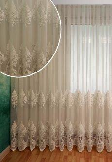 Тюль с купоном Декор-Ин Индиана Белая с вышивкой на бамбуке 280х500 (Vi 200557) (ROZ6400052016)